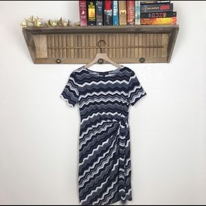 Karin Stevens Navy Chevron Midi Dress
